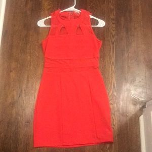 Mesh cute out panel bright coral dress